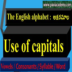 The English alphabet:  The set of letters used in writing a language is called Alphabet .  a , e , i , o , u  అక్షరాలు Vowels. మిగిలిన అక్షరాలు Consonants.