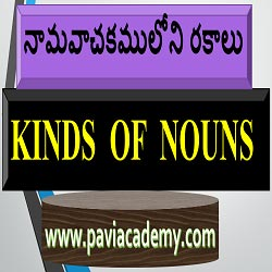 Kinds of Nouns and English Grammar learn from Telugu language . 1: Proper noun 2: Common noun 3 : Collective noun 4 : Material noun 5 : Abstract noun .
