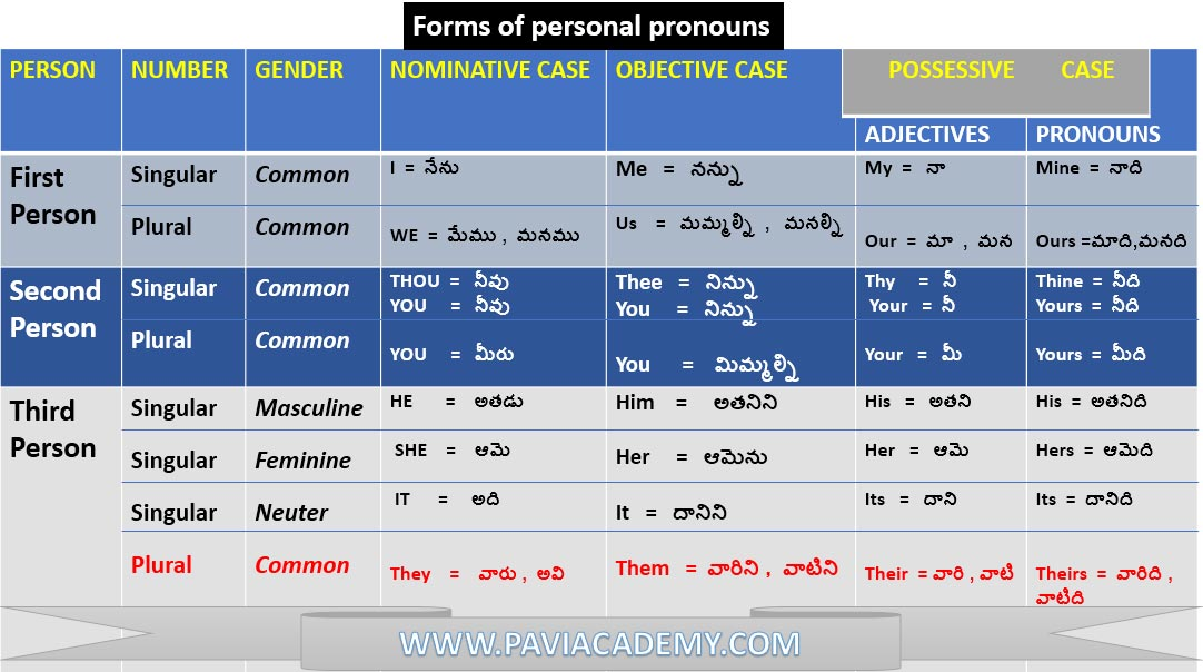 list of personal pronouns in English | English Grammar - Pavi Academy