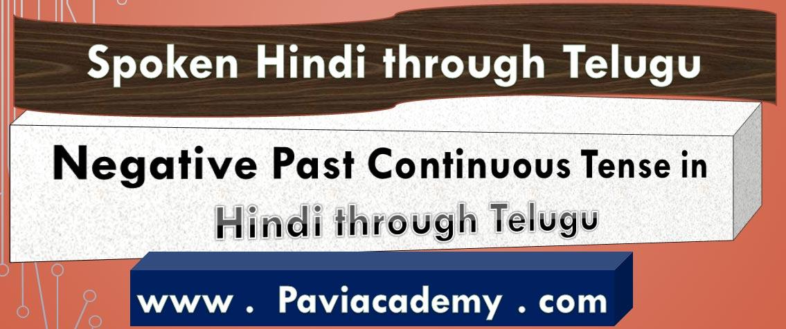 Negative Past Continuous Tense in Hindi through Telugu – తెలుగు వివరణతో – హిందీ వ్యాకరణము - స్పోకెన్ హిందీ తెలుగు లో paviacademy.com ద్వారా నేర్చుకొండి . - Paviacademy