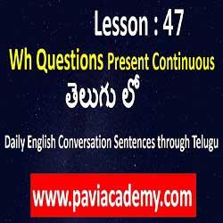 Daily English Conversation sentences through Telugu І Spoken English from Telugu І wh questions І Spoken English from Telugu І తెలుగు І www.paviacademy.com
