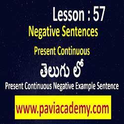 Present Continuous Negative Example Sentence І Spoken English through Telugu І Negative of Present Continuous Tense І www.paviacademy.com