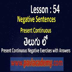 Present Continuous Negative Exercises with Answers І Spoken English from Telugu І Examples of Present Continuous Tense Negative І www.paviacademy.com