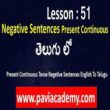 Present Continuous Tense Negative Sentences English To Telugu І English from Telugu І examples of present continuous tense in negative І www.paviacademy.com